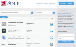 Screenshot of the CLIR and DLF Job Board homepage