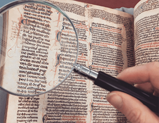 magnifying glass and text