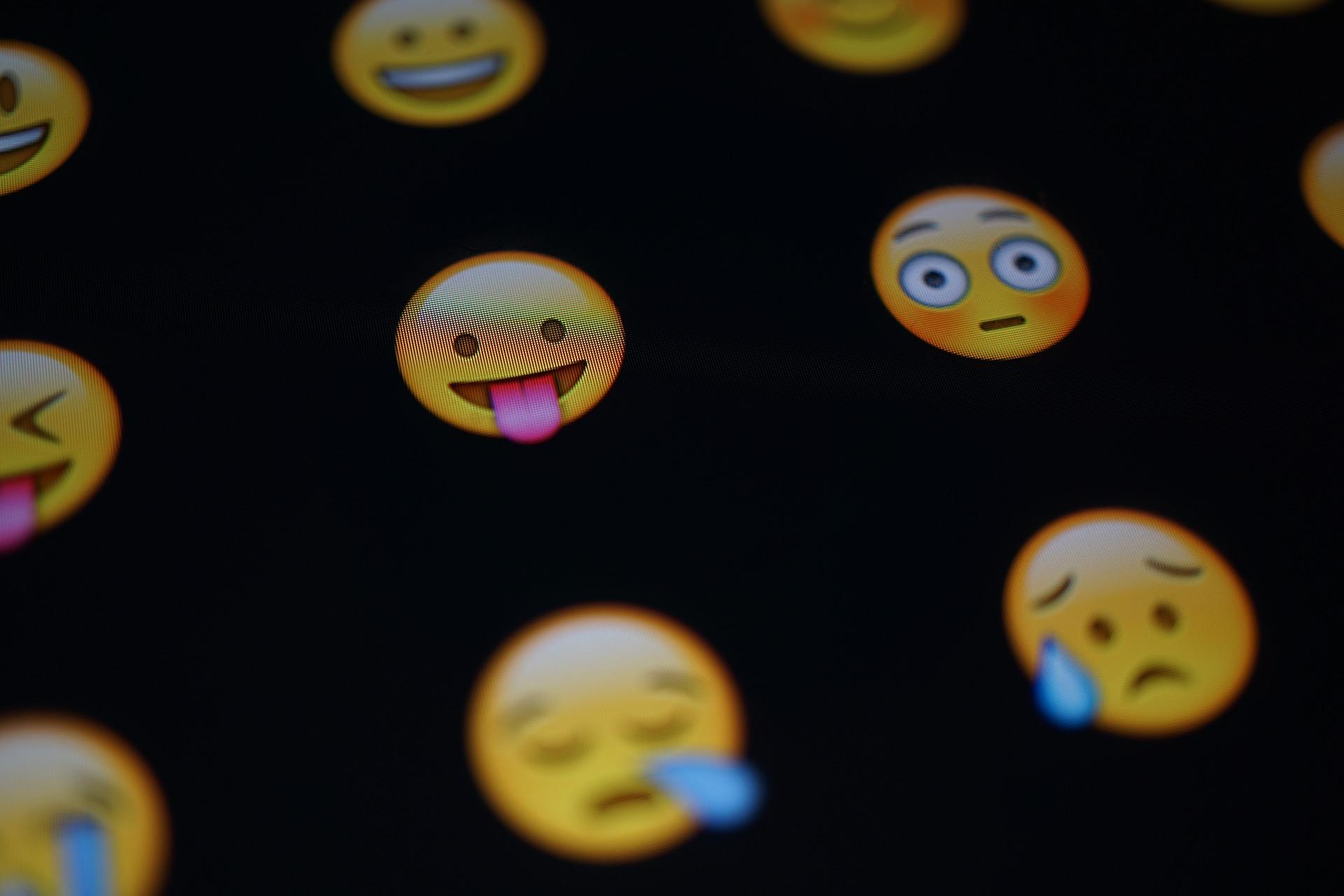 Emojis on a black background