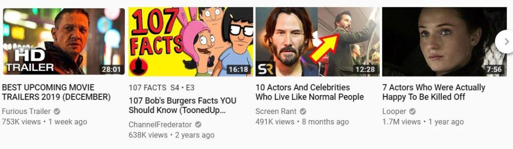 Screenshot with 4 YouTube thumbnails