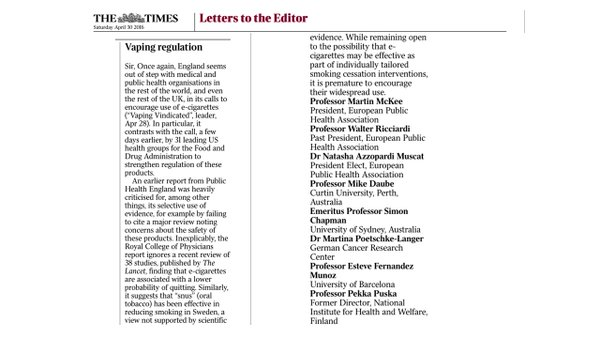 Anti-vaping zealots write flat-earth letter to The Times