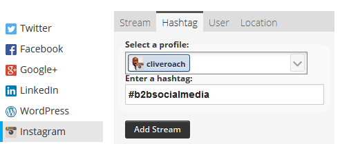 How to schedule instagram posts with hootsuite the clive roach blog fully manage instagram with hootsuite to schedule and publish content adding the hashtag stream ccuart Choice Image