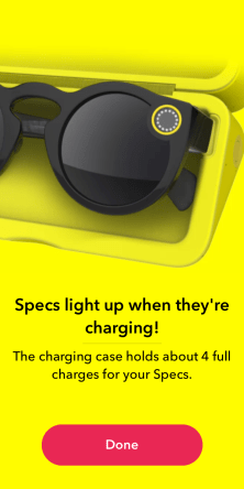 Snapchat Spectacle case can charge it up 4 times