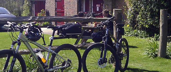Bicycles in the Blue Ship pub garden