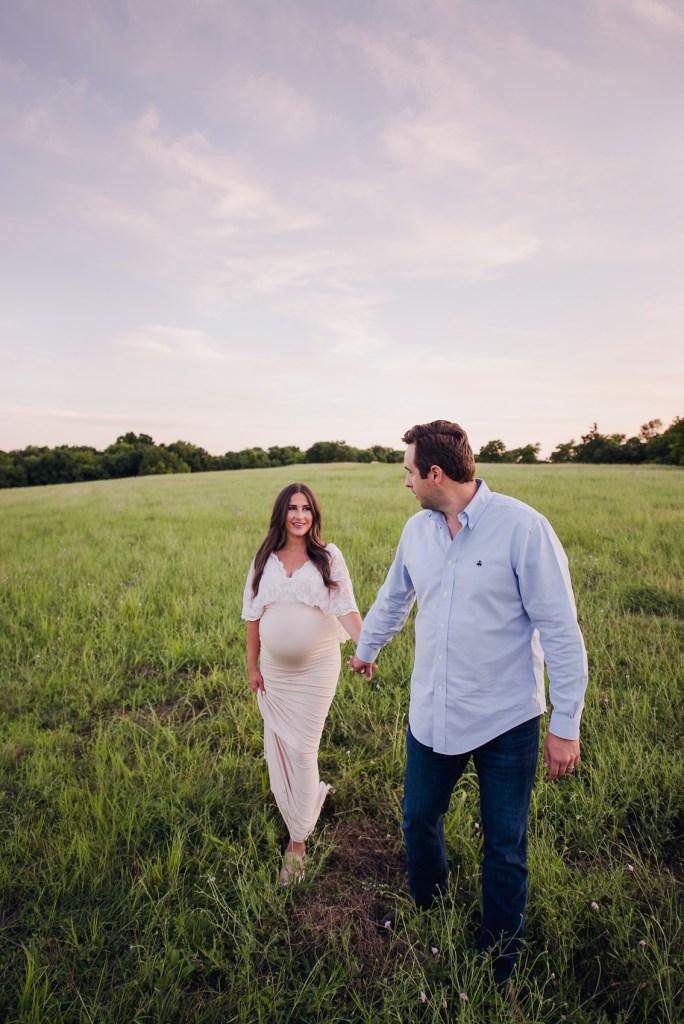 field pregnancy shoot texas pregnancy photographer maternity gowns dallas CLJ Photography