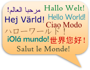 Hello, World!  In Several Languages Clip Art