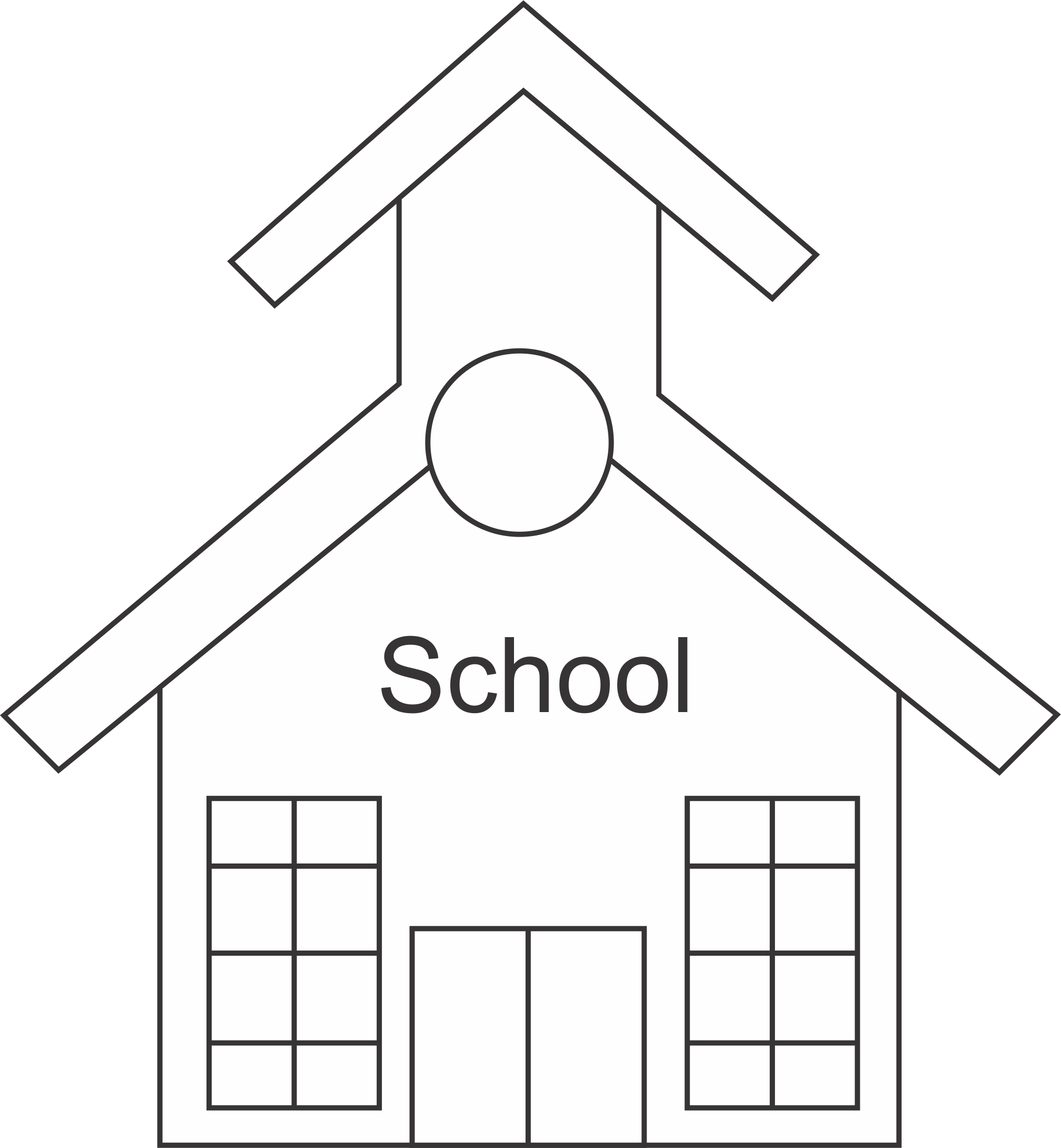 Black And White School Clipart      Wiring       Diagram    Database