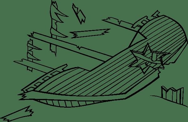White Clip Art Black Ship Sunken And
