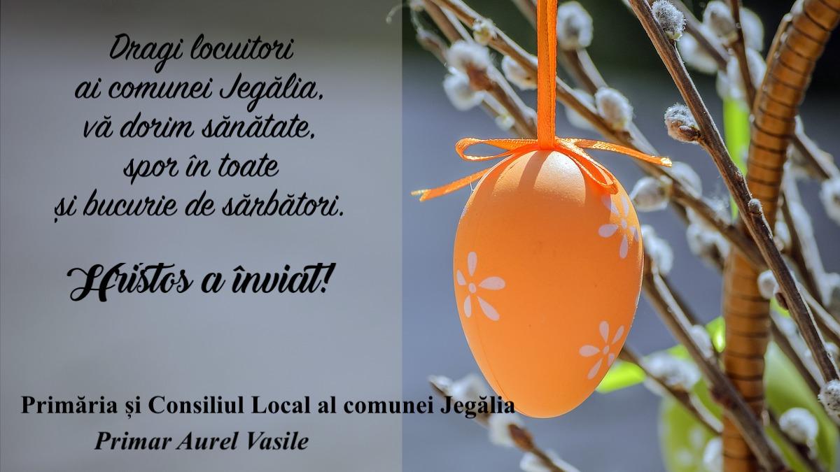 Felicitare Paste Primar Aurel Vasile Jegalia