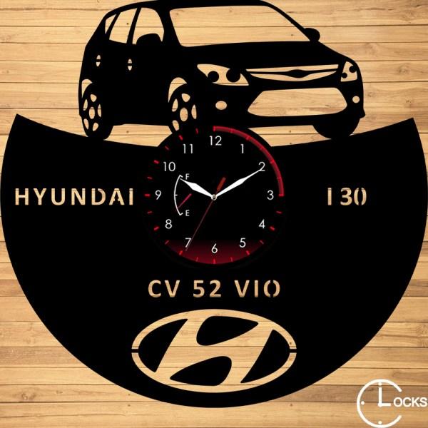 Ceas de perete din lemn negru HYUNDAI I30 2011 | clocksdesign