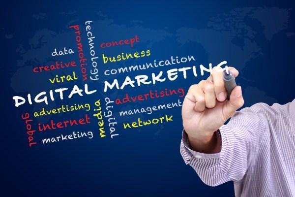 Digital Marketing Keywords on a blue background