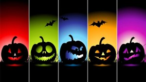 Halloween pumpkins in different colours