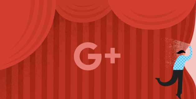 Google+ Logo on a Red Curtain Background