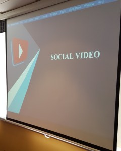 brightonSEO Training on Social Video as shown on a projector