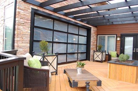 glass garage doors open up interior spaces