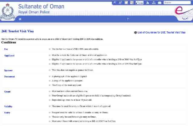 Oman visa status