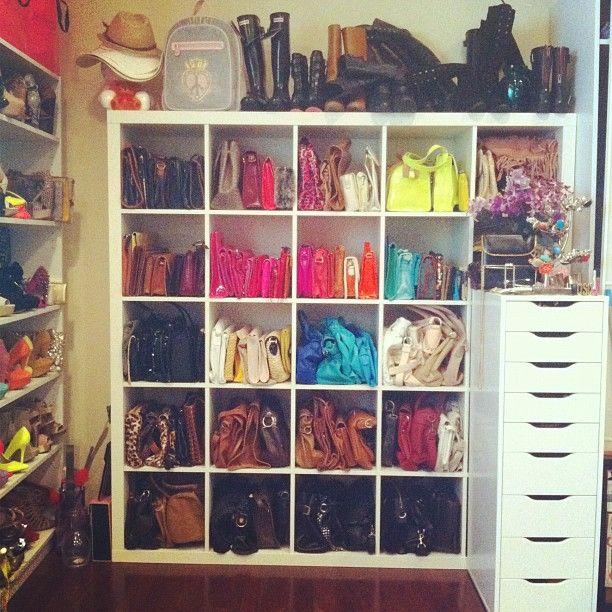 purse organization-purse cuvvies-ikea shelf for closet organization-ikea hacks-closet organization-how to organize your accessories-shoes-purses-jewelry-via-instagram