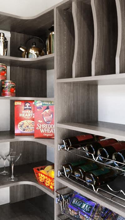 Corner Pantry Cabinets With Curved Corners And Pull Out