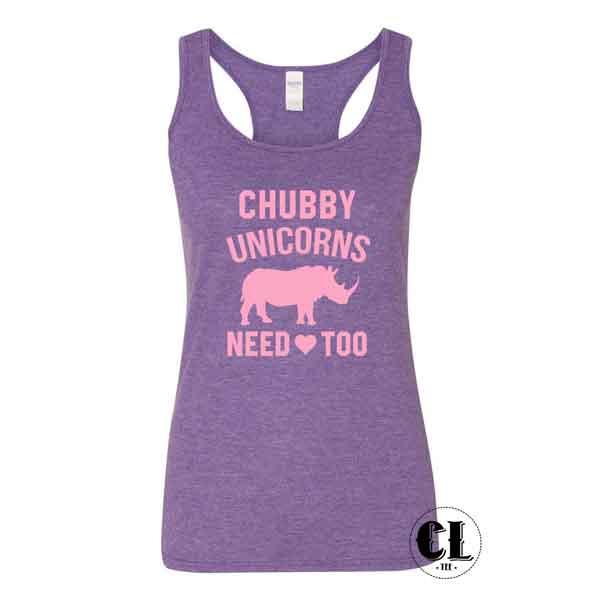 Download Chubby Unicorns Need Love Too Tank Top Racer back ~ Clotee.com