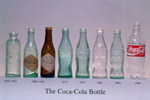 The Coca-Cola logo is inseparable from the brand and even the shape of bottle. Courtesy of http://www.thedieline.com/blog/2009/11/17/the-evolution-of-the-coca-cola-contour-bottle.html