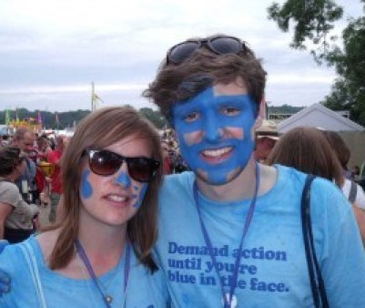 Oxfam's blue festival face paint