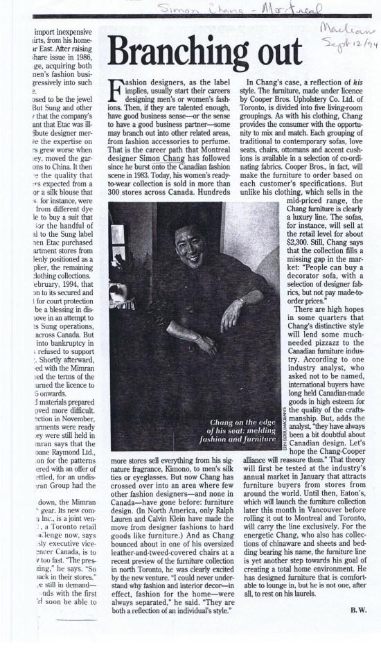 SIMON CHANG MACLEANS SPETMEBER 1994