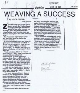 ZONDA NELLIS GLOBE AND MAIL 15 12 1981