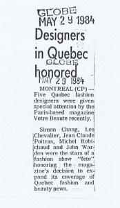 LEO CHEVALIER GLOBE AND MAIL  29 05 1984