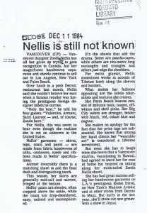 ZONDA NELLIS GLOBE AND MAIL 11 12 1984