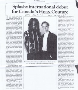HOAX COUTURE GLOBE AND MAIL 24 02 1994
