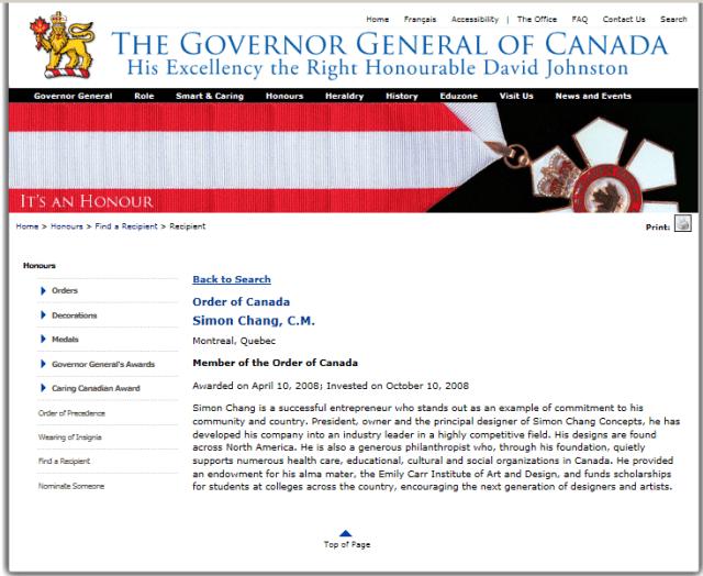 SIMON CHANGE ORDER OF CANADA 2008