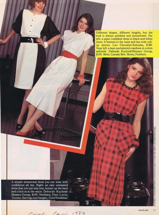 DEBORAH KUCHME (MIDDLE AND RIGHT) CHATELAINE MARCH 1983