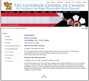 LISE WATIER ORDER OF CANADA NOV 2012