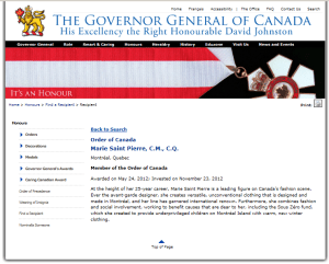 MARIE SAINT PIERRE ORDER OF CANADA MAY 2012
