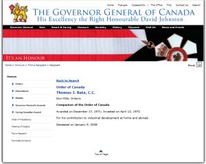 THOMAS BATA  ORDER OF CANADA