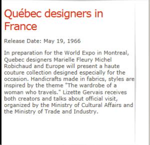 LIZETTE GERVAIS MICHELE ROBICHAUD MARIELLE FLEURY CBC MAY 19, 1966