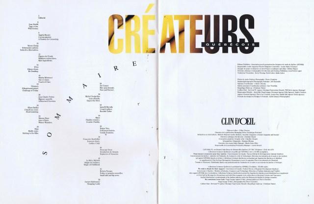 CREATEURS QUEBEC CLIN D'OEIL FALL WINTER 1993 1994