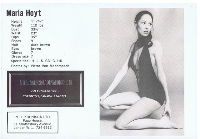 INTERNATIONAL TOP MODELS MARIA HOYT 1972