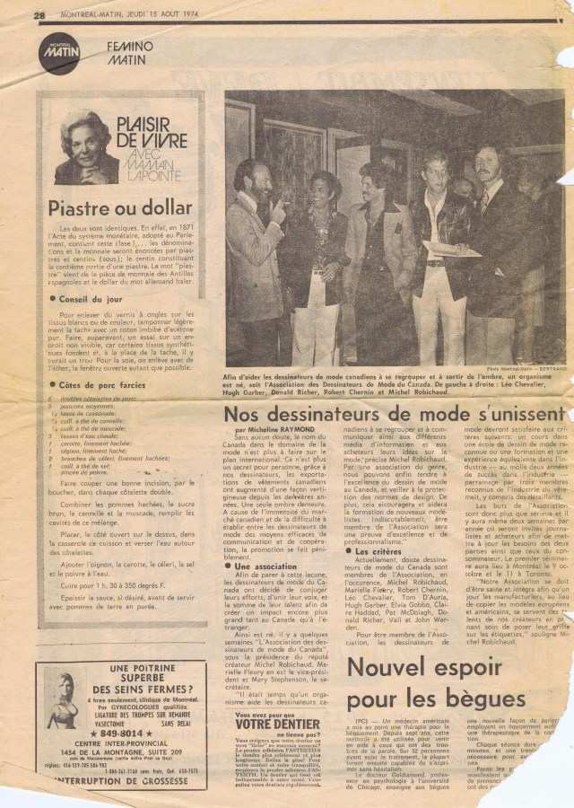 HUGH GARBER MONTREAL MATIN AUGUST 1974 HGA