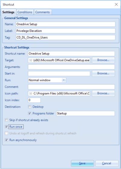 UEM OneDrive Shortcut configuration