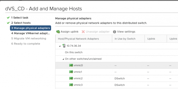 Manage hosts - select adapters