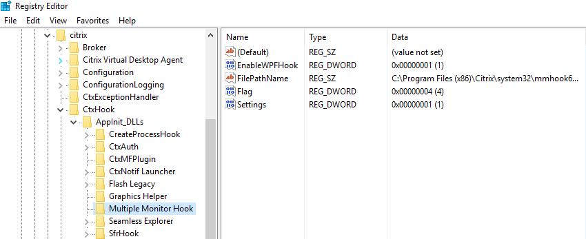 Citrix VDA enableWPFhook
