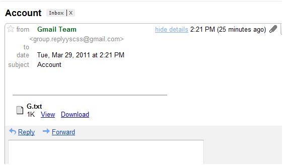Gmail Fraud e-mail