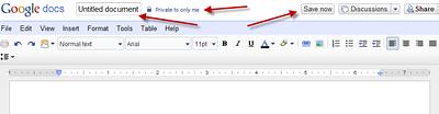 Google Docs Interface (Click for larger image)