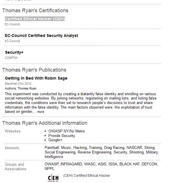 Thomas Ryans Certificates CEH