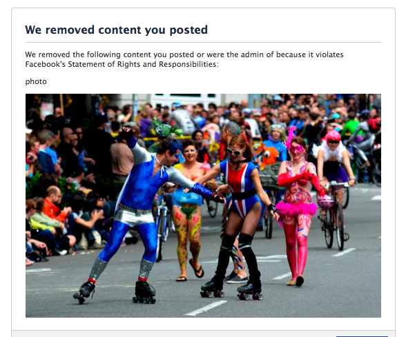 Content removed from Facebook for violating community standards