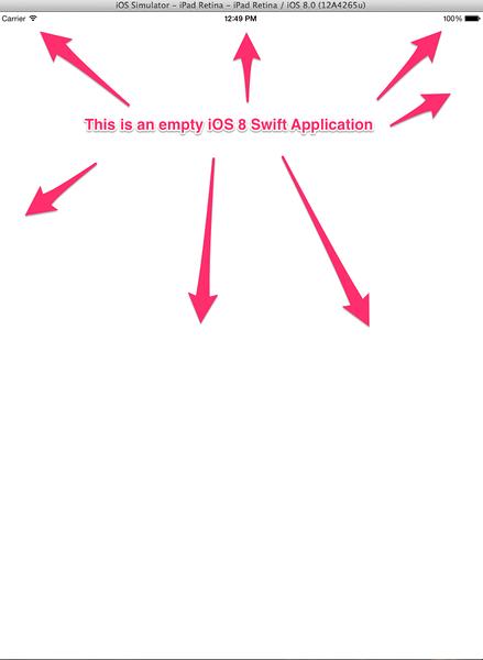 An empty iOS 8 iPad Retina Application.