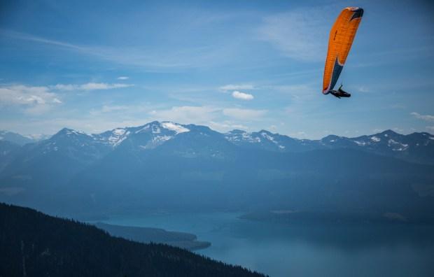 Launching over Kinebasket Lake, Monashees