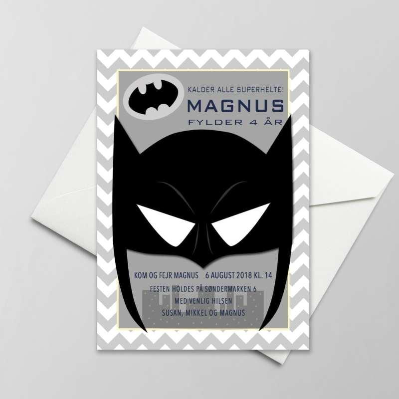Fødselsdagsinvitation. Dreng. Batman. Superhelt.