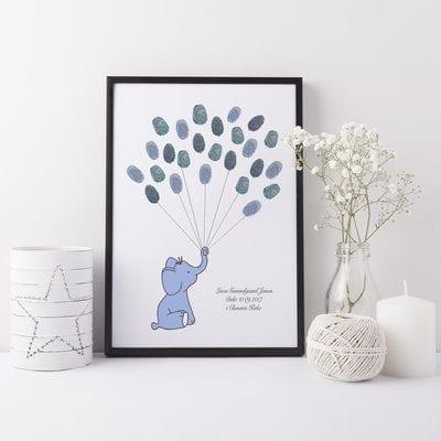 Gæstebog fingeraftryk blå elefant